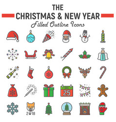 Christmas filled outline icon set new year signs vector