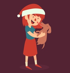 Christmas Girl Standing and Holding her new Puppy vector