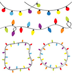 Christmas lights set colorful string fairy light vector