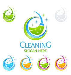 cleaning service logo design eco friendly concept vector image