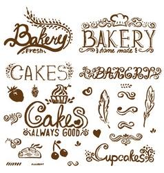 Collection of handwritten vintage retro bakery vector