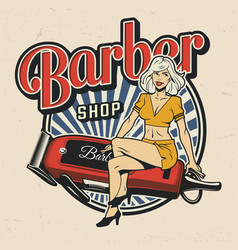 colorful barbershop logotype vector image