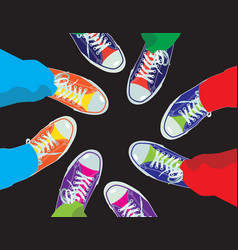 colorful sneaker shoes vector image