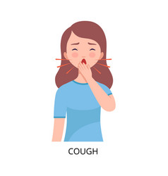 Cough girl suffering from symptom viral vector