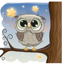 Cute cartoon owl on a brunch vector