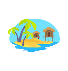 Cute island in exotic country vector