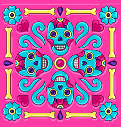 day dead mexican talavera ceramic tile vector image