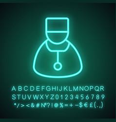 Doctor neon light icon vector