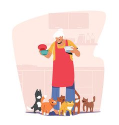 Elderly people hobby concept old granny holding vector