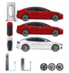 Electric car with various elements vector