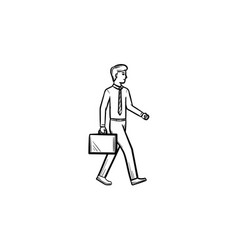 Employer with briefcase hand drawn sketch icon vector