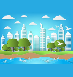 environment of city with sea and beach background vector image