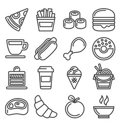 fast food icons set on white background line vector image