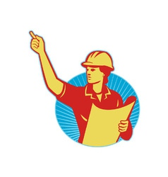 Female Engineer Construction Worker Pointing Retro vector