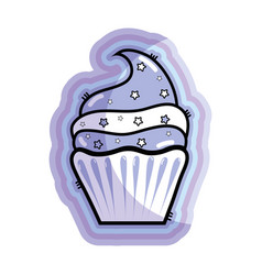 Figure delicious cupcake to happy birthday vector
