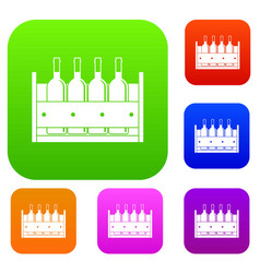 four bottles of wine in a wooden box set color vector image