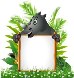 funny rhino with blank sign vector image