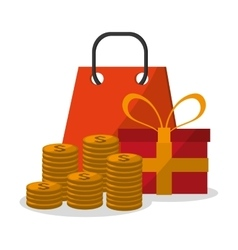 Gift coins bag and digital marketing design vector
