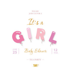 Girl baby shower cute template party invitation vector