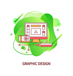 graphic design computer monitor with application vector image