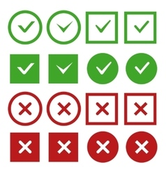 Green check marks and red crosses buttons vector image