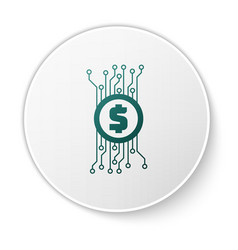 green cryptocurrency concept bitcoin in circle vector image