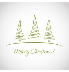 Greeting card with Christmas trees vector image
