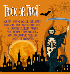 Halloween holiday trick or treat poster vector