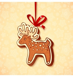 Hand-drawn gingerbread deer with red ribbon vector image
