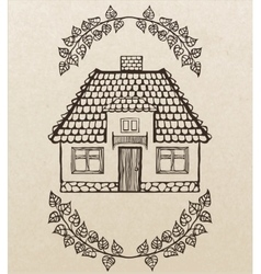 hand-drawn house with chimney vector image