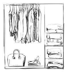hand drawn wardrobe sketch clothes of the hanger vector image