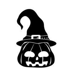 happy halloween pumpkin with hat trick or treat vector image