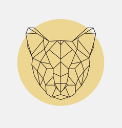 Head of wild cat puma geometric style vector