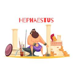 Hephaestus cartoon composition vector