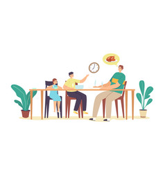 hungry family waiting dinner young father little vector image