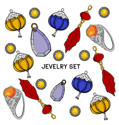 jewelry set hand drawing vector image