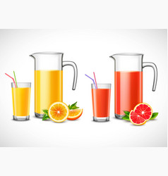 jugs with citrus juice vector image