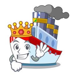King ship contener a in shape cartoon vector