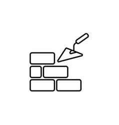 Line icons brickwork and building trowel vector