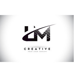 lm l m letter logo design with swoosh and black vector image