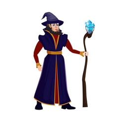 Magician with a magic staff an image of an old vector