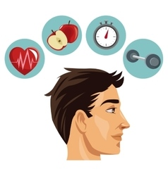 Man and icon set of Healthy lifestyle design vector