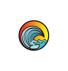 man surfing and wave logo designs inspiration vector image