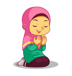 Moslem girl praying vector