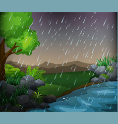 nature scene with rainy day in the park vector image
