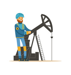 Oilman working on an oil rig drilling platform vector