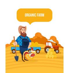 Organic farm agribusiness rural landscape vector