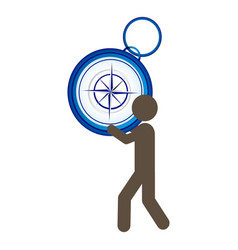 person with compass in his hands and shoulder vector image