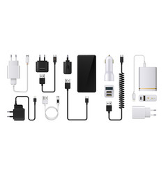 Phone charger realistic smartphone power supply vector
