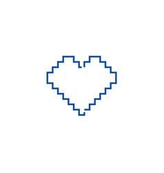 pixel heart line icon concept pixel heart flat vector image